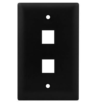 Pass & Seymour WP3402-BK On-Q WP3402-BK 1-Gang Wallplate; Wall Box, (2) Receptacles, (2) Keystones, High Impact Flame Retardant Plastic, Black