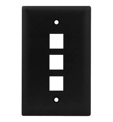 Pass & Seymour WP3403-BK On-Q WP3403-BK 1-Gang Wallplate; Wall Box, (3) Receptacles, (3) Keystones, High Impact Flame Retardant Plastic, Black