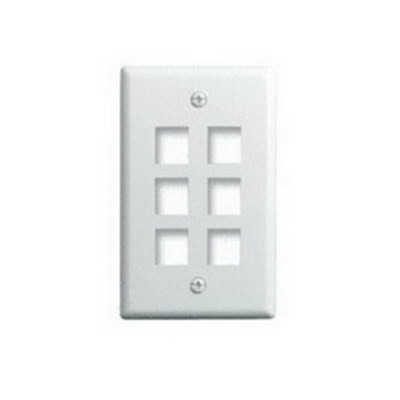 Pass & Seymour WP3406-WH On-Q WP3406-WH 1-Gang Wallplate; Wall Box, (6) Receptacles, (6) Keystones, High Impact Flame Retardant Plastic, White
