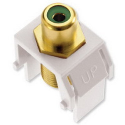 Pass & Seymour WP3463-WH On-Q WP3463-WH RCA to F-Type Keystone Insert; M20 Screw/Wallplate or Strap Mount, White/Green