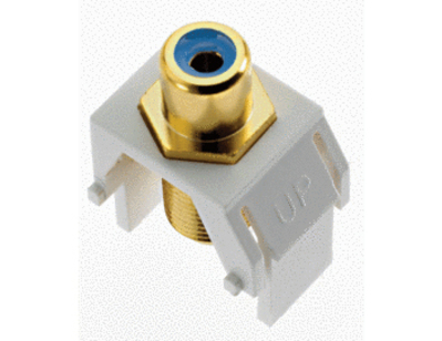 Pass & Seymour WP3464-WH On-Q WP3464-WH RCA to F-Type Keystone Insert; M20 Screw/Wallplate or Strap Mount, White/Blue